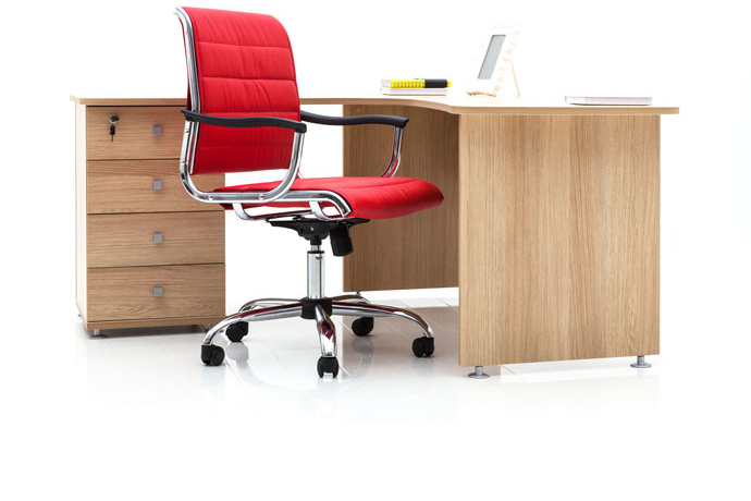 Desk and red chair with casters