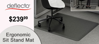 Deflecto - Ergonomic Sit Stand Mat, 53 x 45, Black