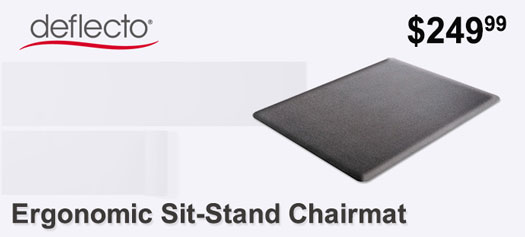 Deflecto - Ergonomic Sit-Stand Chairmat, 60 x 46, Black