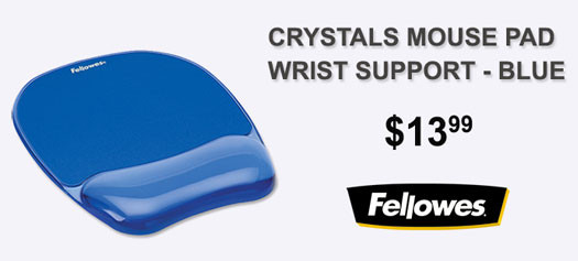 Fellowes - Gel Crystals Mouse Pad w/ Wrist Rest, Rubber Back, 8 x 9-/4, Blue