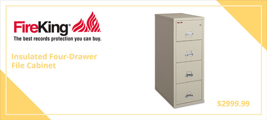 FireKing Insulated Four-Drawer File Cabinet, 20 13/16 x 31 9/16, UL 350° for Fire, Parchment