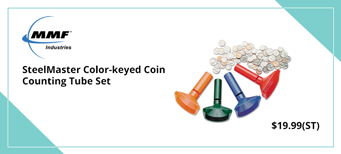 MMF - SteelMaster Color-keyed Coin Counting Tube Set