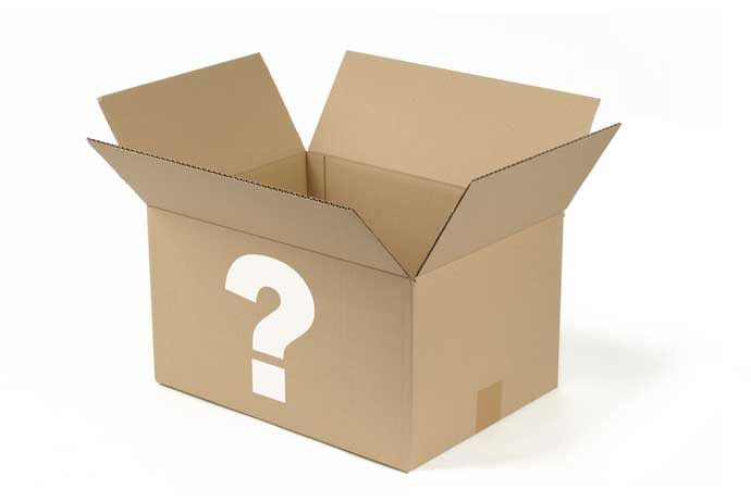 Cardboard box with white question mark
