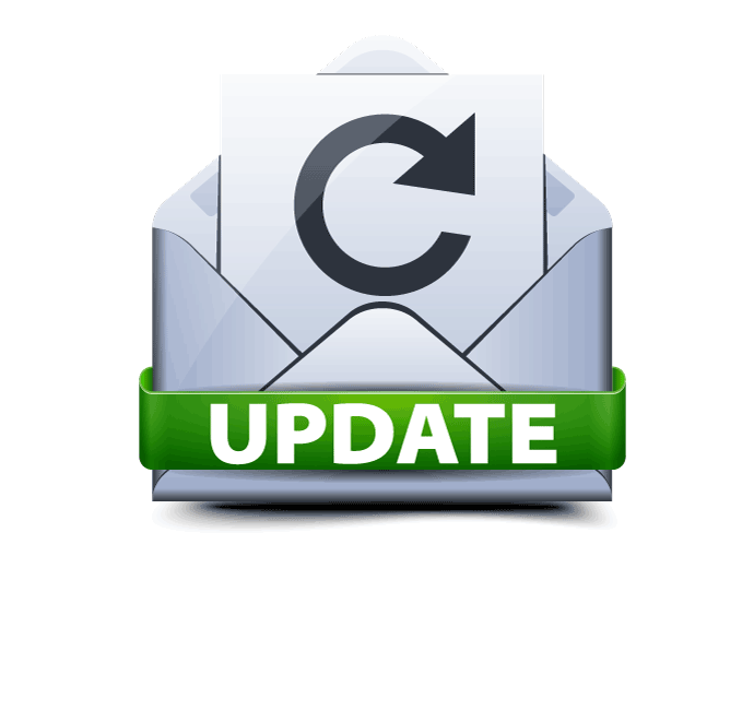 Envelope with circular arrow and green banner with the word Update